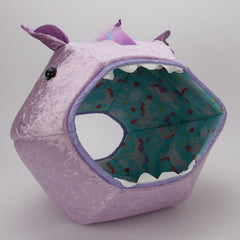 Lavender unicorn Cat Ball cat bed with rainbow mane