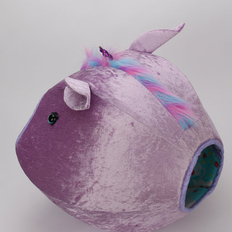 The lavender unicorn Cat Ball cat bed with rainbow mane is a covered cat bed with two openings