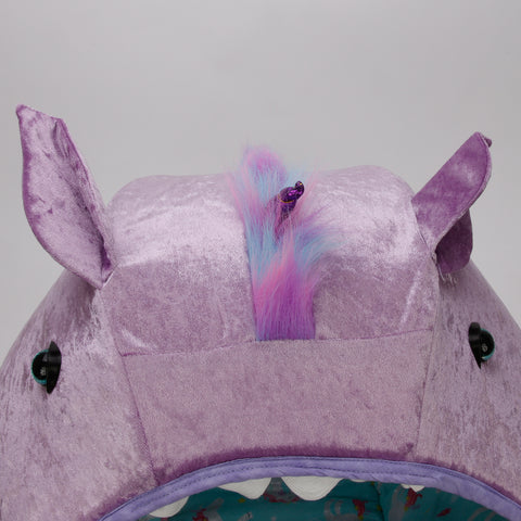 Detail photo of the lavender panne velvet unicorn Cat Ball cat bed