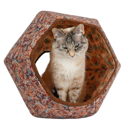 The Cat Ball® cat bed in Brown Batik Peacock Feather fabric with coordinating lining
