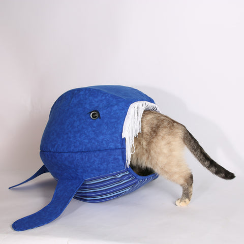 Blue Whale Cat Ball® with turtle lining and bold stripes