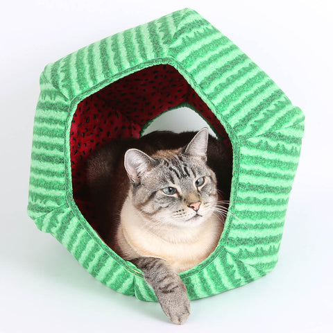 The Cat Ball® is made here in fun watermelon fabrics. Our original modern cat bed design is hexagonal with two openings, offering a cave like bed for your cat. Our cute novelty Cat Ball® design is made in USA using high quality cotton fabrics and foam.