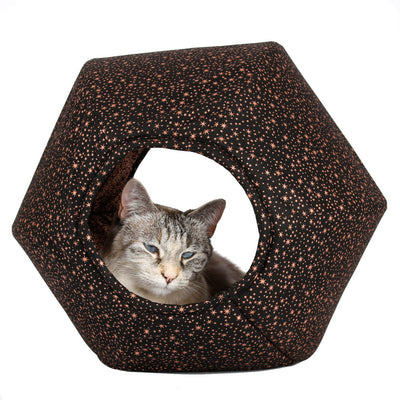 Cat Ball® modern cat bed made with shiny copper metallic stars fabric.