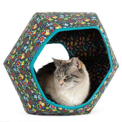 Cat Ball® modern cat bed made in a colorful and cheerfull floral print with a whimsical and folksy look.