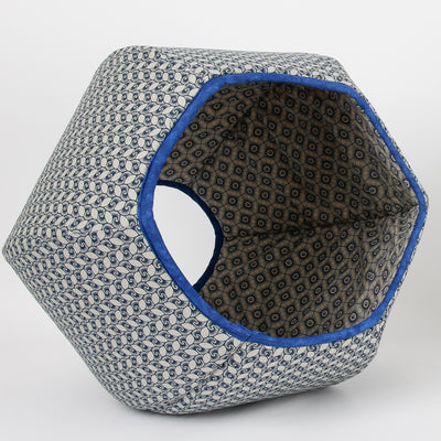 Cat Ball cat bed made in blue and white fabrics