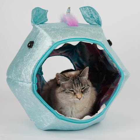 Cat Ball cat bed - prototype for novelty unicorn design