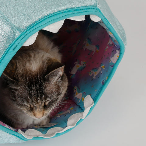 Detail photo of the Cat Ball cat bed prototype for novelty unicorn