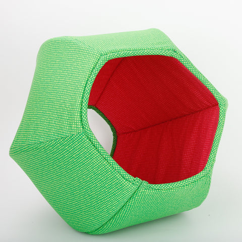 The Cat Ball® cat bed is a comfortable place to sleep. Our original modern cat bed design is made with six foam panels and has two openings. This bed is made with a dotted green cotton and lined with a contrasting bright pink, suggesting a watermelon. We make our pet beds designs in the USA in the state of Washington.