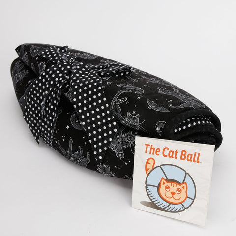 The Cat Ball cat bed folded for shipping and logo hang tag