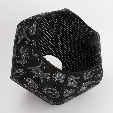 Cat Ball modern cat bed made in a in black and white fabric that looks like cat constellations