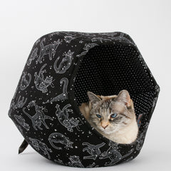 A small cat sitting inside the Cat Ball modern cat bed made in a in black and white fabric that looks like cat constellations