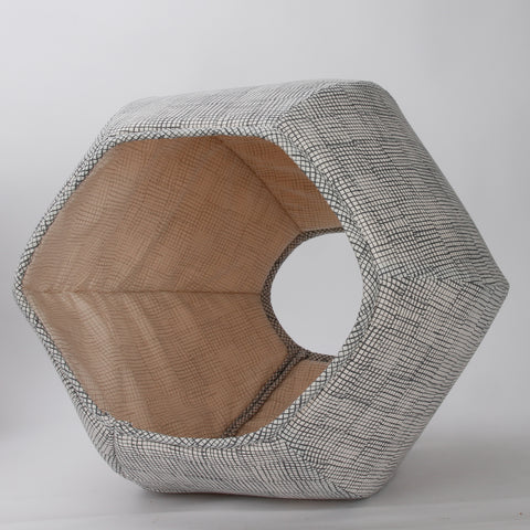 Cat Ball covered cat bed design made in a neutral grey grid pattern for a minimalistic look