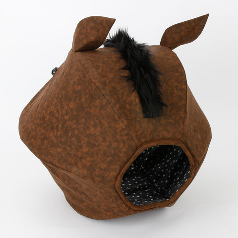 Cat Ball cat bed made to look like a funny novelty horse with big teeth
