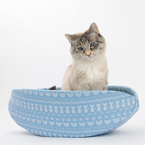CAT CANOE modern cat bed made in blue sweater knit look cotton fabric