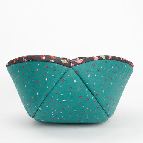 Cat Canoe® modern cat bed made in a cute bird fabric with an emerald green lining. All cotton fabrics, made in USA.