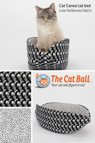 The Cat Canoe modern cat bed design made in a cute black and white print of fishbones