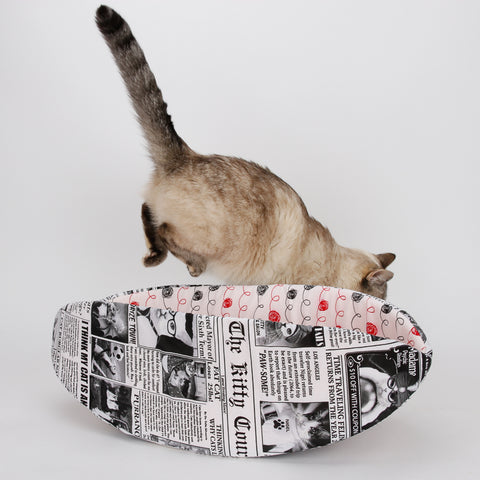 Cat Canoe modern cat bed made in funny newsprint fabric and lined with fabric that looks like balls of yarn