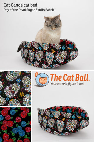 Cat Canoe kitty bed made in colorful sugar skull fabric for people who like color, Mexican culture, and Day of the Dead imagery
