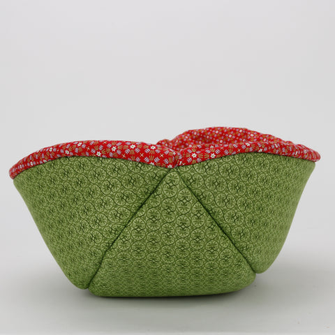Cat Canoe modern pet bed made in red and green folk Christmas print with a Scandinavian design look