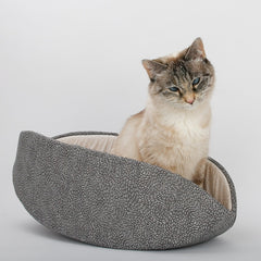Cat Canoe  modern cat bed made in Neutral Grey Ivory Swirl cotton fabric