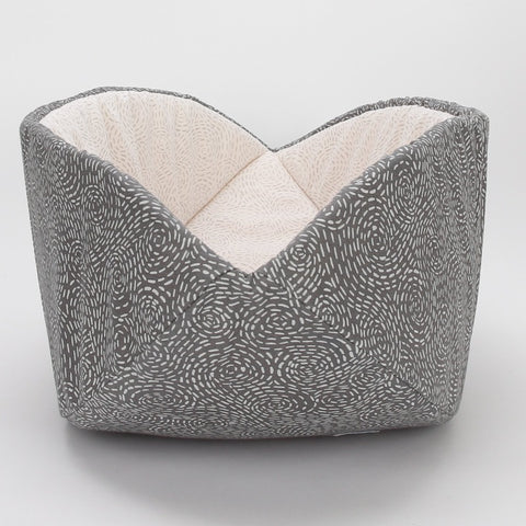 CAT CANOE modern cat bed made in neutral grey and ivory fabrics that look like embroidery stitches