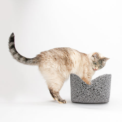 Cat Canoe modern cat bed made in black and white fabric that looks like bricks
