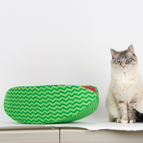 "The Cat Canoe® modern cat bed, made in a lively green zig zag print and lined with exactly the right pink red fabric to make it look like a slice of watermelon. The model here is Tink, who wants you to know that she expects ""pay before play"" and maybe she'll get inside the bed  after I feed her."