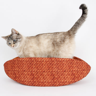 Cat Canoe® modern pet bed made in a fabric that looks like a textured basket weave.