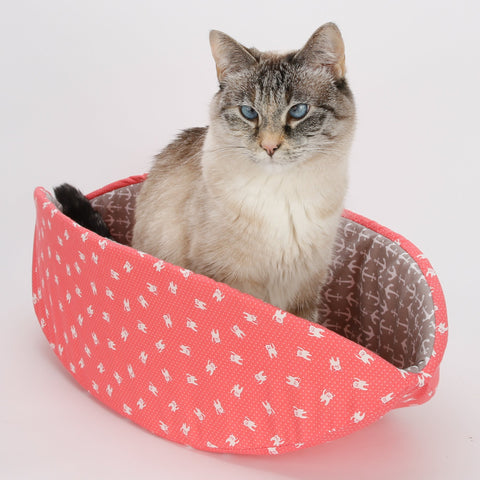 CAT CANOE modern cat bed in coral and white cat fabric with grey anchor lining