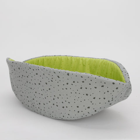 Cat Canoe modern cat bed made in grey and lime green stars fabrics