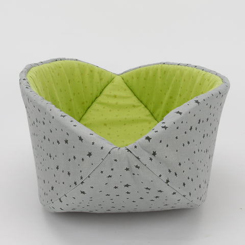 Cat Canoe - modern cat bed in grey and green stars