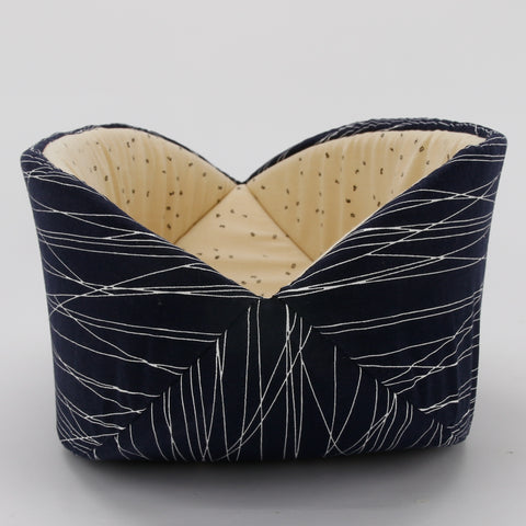 Cat Canoe - kitty bed neutral navy lines with typography lining