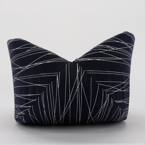 Cat Canoe modern design kitty bed made in neutral abstract navy lines fabric with tan random typography print lining