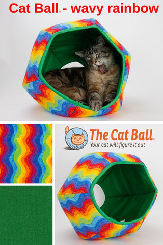 Cat Ball colorful cat napper bed in wavy rainbow fabric