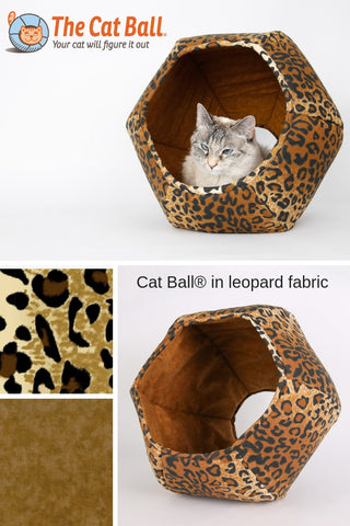 The Cat Ball Cat Bed in Leopard Cotton Fabric a Modern Pod Style Cat Bed