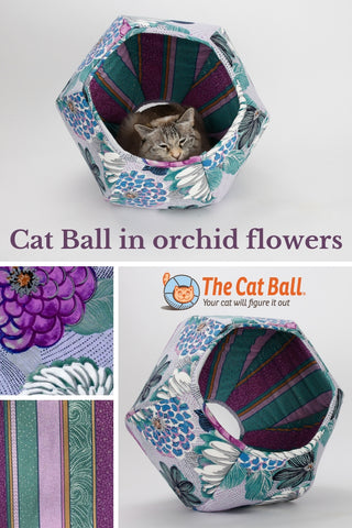 Cat Ball cat cave bed in large floral print with hydrangea and dahlias