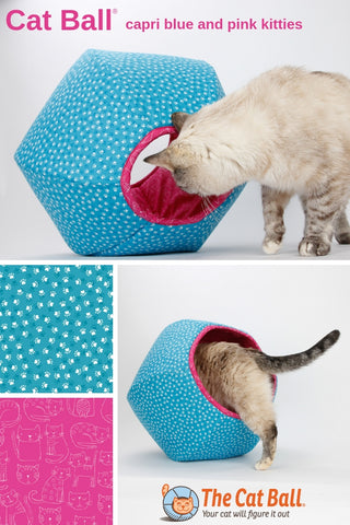 Cat Ball modern cat bed in capri blue and deep pink paw prints fabric