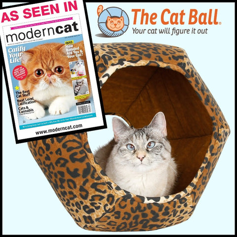 Leopard Cat Ball cat bed featured in ModernCat Magazine, Fall - Winter 2018 issue