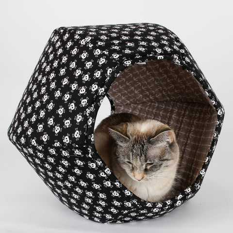 Cat Ball cat bed in skull and crossbones with anchor lining