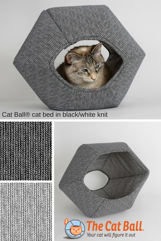 The Cat Ball® cat bed is a modern cat bed design. Our hexagonal cat bed has two openings, one larger than the other. This covered cat bed is made in USA in black and white cotton fabrics