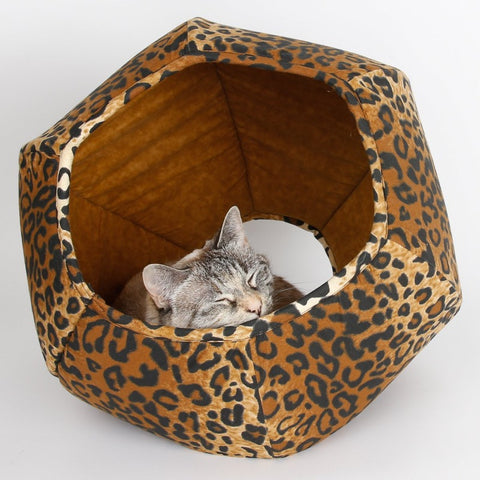 The Cat Ball modern cat bed made in a cotton leopard fabric