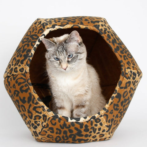 The Cat Ball cool cat bed made in a cotton leopard fabric