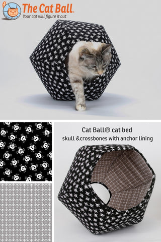Cat Ball modern cat bed in skull and crossbones fabric for pirate pets