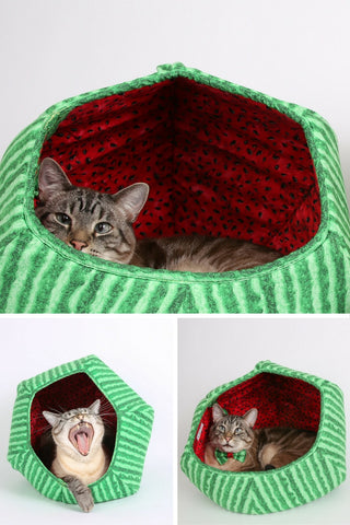 The Cat Ball is a modern cat bed, made in watermelon fabric