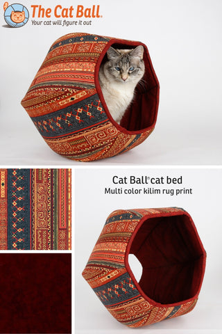 This Cat Ball® is made in a multi color fabric with exotic details, like a kilim, tapestry or persian rug. The colors include shade of deep burgundy red, navy and glittering gold. We make our modern cat bed designs in the USA