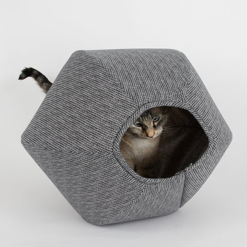 Cat Ball modern cat bed in black and white knit design