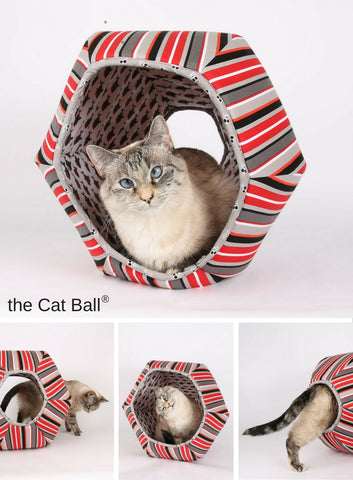 Pirate cat needs a Cat Ball cat bed. Made in stripes and lined with sharks this Cat Ball is for your pirate kitty