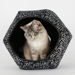Cat Ball pod style pet bed made in black and white batik fabric