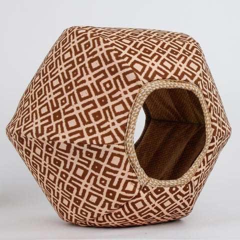 Cat Ball pod style cat bed in tan tribal pattern