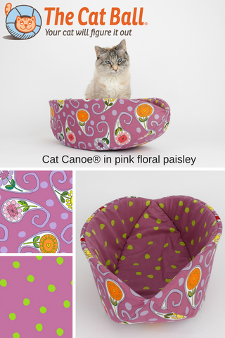 The Cat Canoe is a modern cat bed, made here in pink floral paisley with a coordinating polka dot lining. These fabrics are 100% cotton. Our washable pet bed is made in the US and fits cats and small dogs